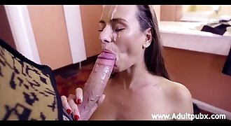 Mea Melone blowing his schlong and taking an open mouth facial