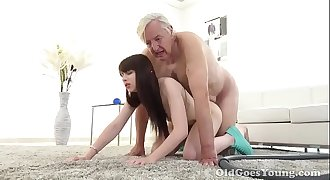 Teen brunette fucked by older