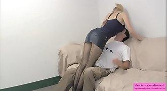 Big Titty Skinny Blonde in Pantyhose BALLBUSTING HANDJOB