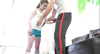 Tiny teenager Mini Vanilli fucked hardcore by a big cock
