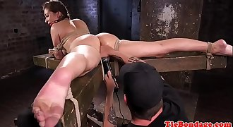 Big-titted bdsm sub tied up and pussy fingered
