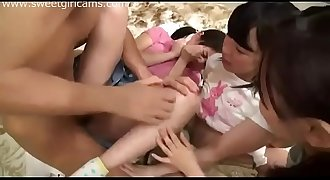 Foursome with young teen Japanese Girls