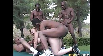 Holly Landers Interracial Anal Gangbang