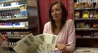 Amateur Brunette MILF gets fucked for Money in a Tobacco Shop