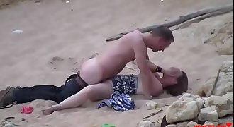 Dad fucks his daughter on the beach