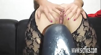 Colossal faux-cock fucking amateur MILF