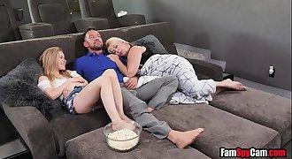 Dad fucks daughter next to sleeping mom