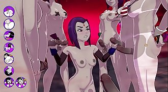 Raven gets a TERRIFIC bukkake, Fucks and Cums With A Group Of Futas - sexgame
