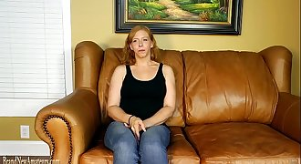 Mom on casting couch masturbating then providing a blowjob