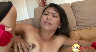Big black dick fucking a gorgeous asian sweet beaver and splitting cunt