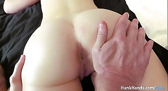 Bubble butt British stunner squirts ALL over the hotel couch in real massage! Unexperienced POV!