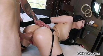 Juicy ball-sac dickblowers Marley Brinx gets anal invasion fuck for money