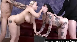 Gothic Bi hoes Ass to mouth 4some