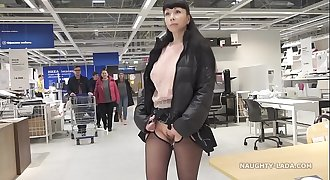 Brief micro-skirt and sheer blouse for flashing and public upskirt