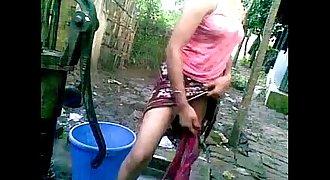 village Indian desi outdoor BATH nude