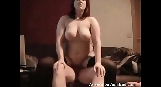 Horny BBW in stockings sucks and rides shaft