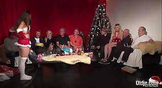 Old Young Orgy 9 Old Men 2 Teenagers hardcore Christmas group fuck special